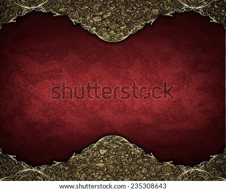 Gold frame in the sand on red background. Template Design. - stock photo