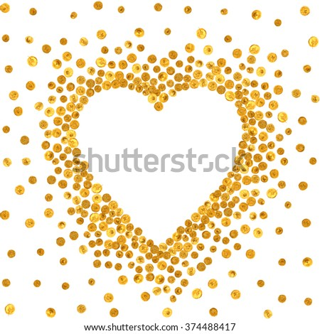 Gold frame in the shape of heart on white background. Pattern of golden acrylic confetti. Design element for festive banner, card, invitation, label, postcard, vignette. Raster copy of vector file. - stock photo