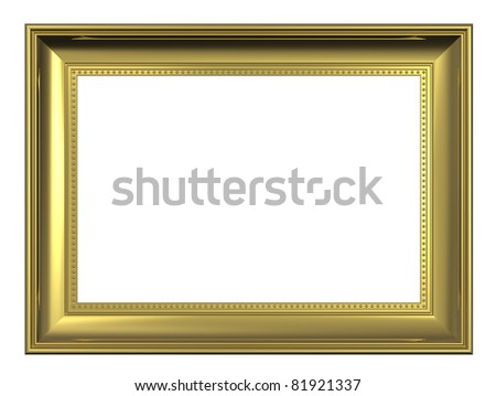 Gold frame isolated on white background. Computer generated 3D photo rendering. - stock photo