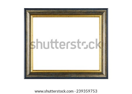 Gold frame isolated on white background with clipping path. - stock photo
