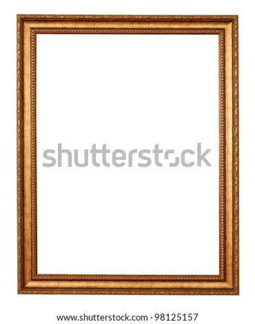 gold frame. Isolated over white background with clipping path - stock photo