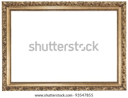 Gold frame on white background See my portfolio for more - stock photo