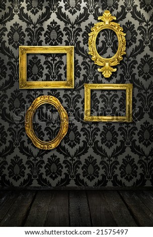 Gold frames, retro wallpaper, spotlights from above, similar available in my portfolio - stock photo