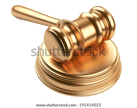 gold gavel and soundboard on white background. LAW concept - stock photo