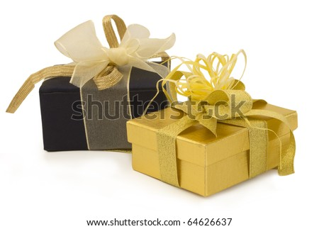 gold gift with golden bow and sateen box, holiday symbols - stock photo
