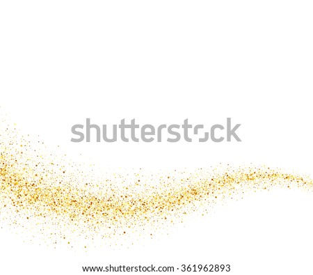 Gold glitter wave abstract background, golden sparkles on white background, design template - stock photo