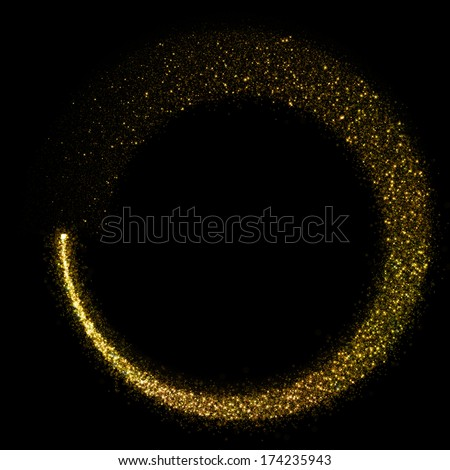 Gold glittering star dust circle - stock photo