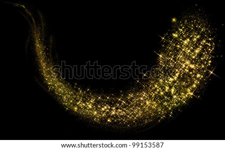 Gold glittering stars dust trail - stock photo