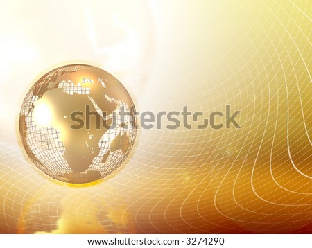 Gold globe Earth with map isolated on background. Texture, Island or Surface and Height symbol. Globe earth texture map. Surface height levels. Closeup view. Game map. Globe Earth texture background - stock photo