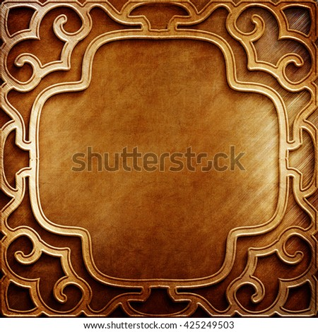 Gold.Gold background.Gold metal plate with classic ornament. metal collection.Gold  texture with metal carved pattern. Luxury metal design. Ramadan Kareem frame template - stock photo