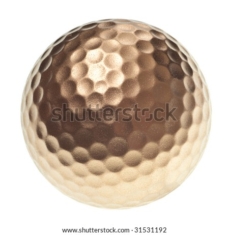 gold golf ball isolated on a pure white background - stock photo