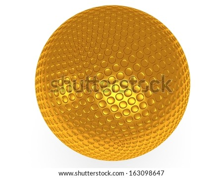 Gold golf ball isolated on white. 3d render. Sport, VIP concept. - stock photo