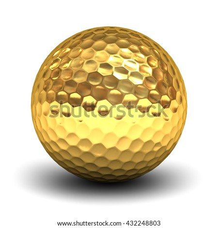 Gold golf ball isolated over white background with reflection and shadow. 3D rendering. - stock photo