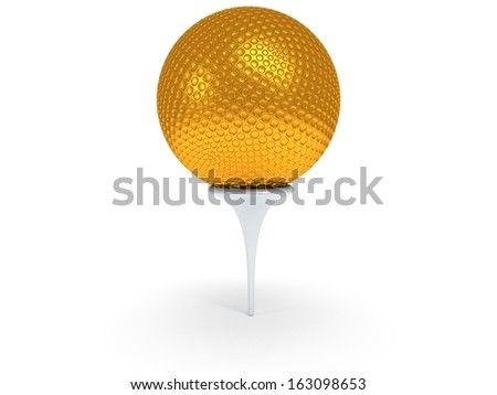 Gold golf ball on tee isolated on white. 3d render. Sport, VIP concept. - stock photo