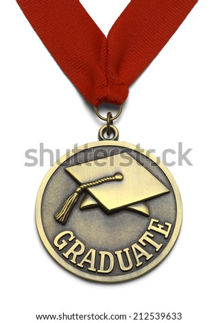 Gold Graduate Medal with Red Ribbon Isolated on White Background. - stock photo