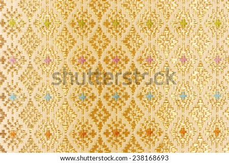 gold guipure, embroidery on cloth texture - stock photo