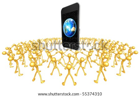 Gold Guy Community Touch Screen Mobile Device - stock photo