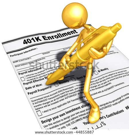 Gold Guy Filling Out A 401K Form With Gold Pen - stock photo