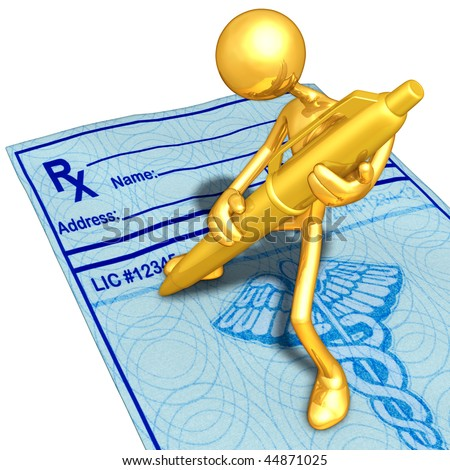 Gold Guy Filling Out A Medical Prescription With Gold Pen - stock photo
