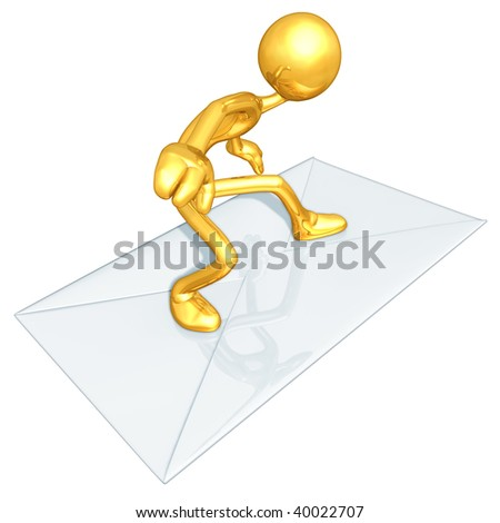 Gold Guy Mail Email Surfing - stock photo