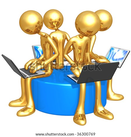 Gold Guy Network Workgroup - stock photo