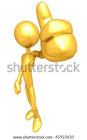 Gold Guy Thumbs Up Approval - stock photo