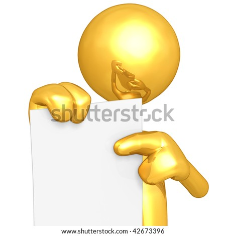 Gold Guy With Blank Paper - stock photo
