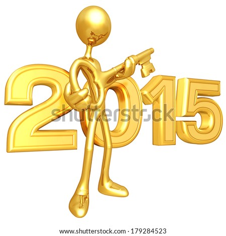 Gold Guy With Gold Key - stock photo