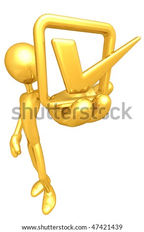 Gold Guy With Golden Vote - stock photo