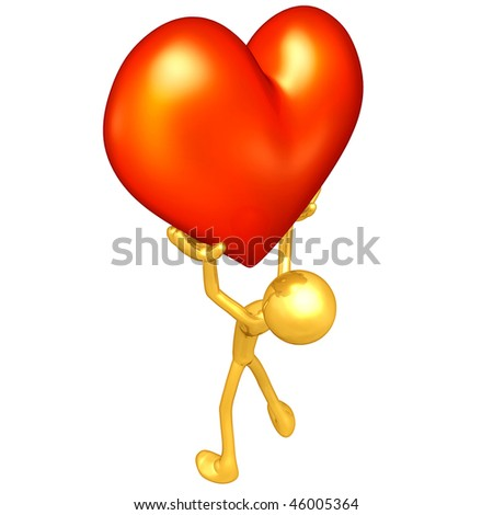 Gold Guy With Valentine Heart - stock photo