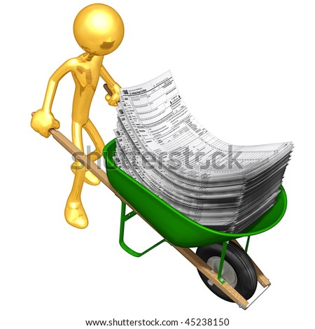 Gold Guy With Wheelbarrow Full Of Tax Forms - stock photo
