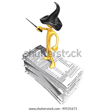 Gold Guy Wizard On 401K Forms - stock photo