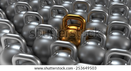 Gold gym weight kettle  standing out of the crowd.  - stock photo