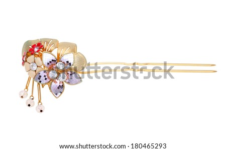 gold hairpin with jewelry isolated on white background - stock photo