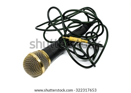 Gold handheld ball head microphone isolated on white - stock photo
