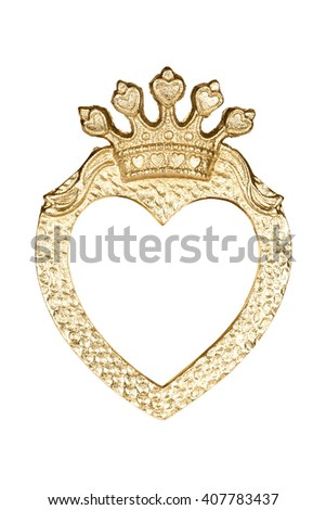 Gold heart picture frame isolated on white with clipping path. - stock photo