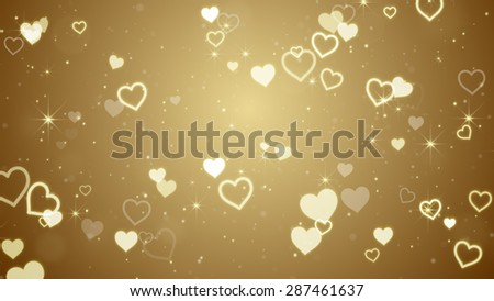 gold hearts and stars. Computer generated abstract illustration  - stock photo