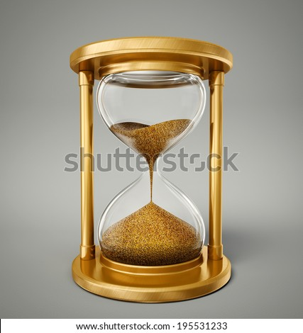 gold hourglass isolated on a  grey background - stock photo