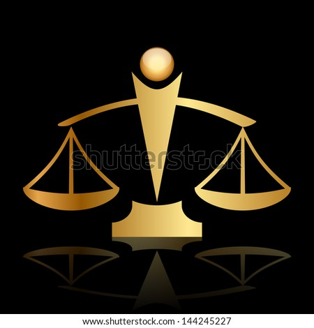 gold icon of justice scales on black background - stock photo