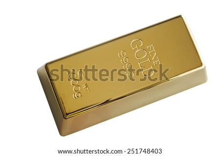 Gold Ingot Isolated on White - stock photo