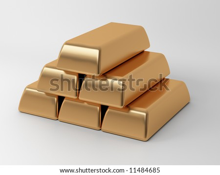 gold ingots - stock photo