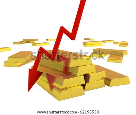 gold ingots fall down in price - stock photo