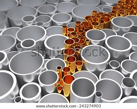 Gold innovative pipe on the background of the ordinary. The concept of innovation - stock photo