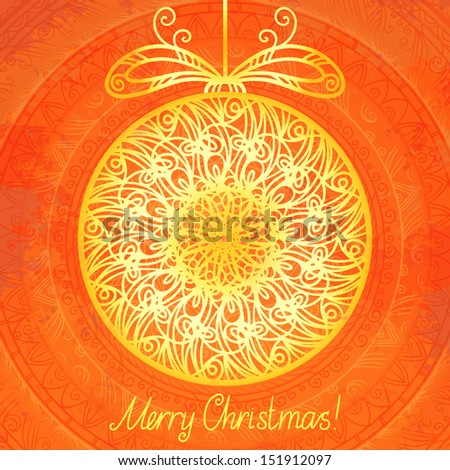 Gold isolated Christmas ball - raster version - stock photo