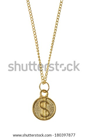 Gold jewelry with dollar sign pendent on white background  - stock photo