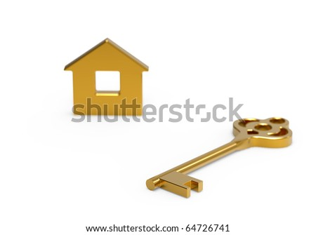 Gold key and little toy house on white - stock photo