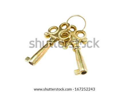Gold keys isolated on white background. - stock photo