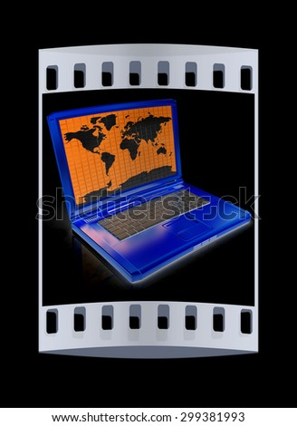 Gold laptop with world map on screen on a black background. The film strip - stock photo