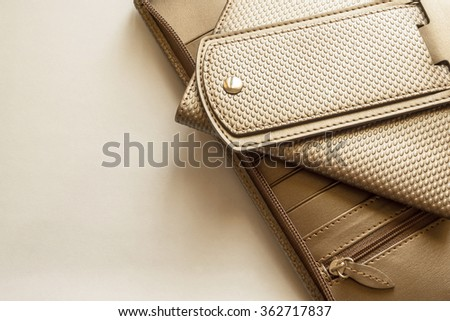 gold leather business bag set with free space for text - stock photo