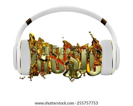 gold liquid from the headphones breaks inscription music. stylish white with gold headphones, and the word music. for each color and the object retained its mask. edit in the fun - stock photo